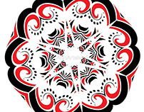 Floral Black and Red Round Ornament