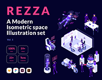 Isometric Space Illustrations Pack