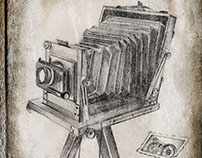 Viñeta. Cámara de daguerrotipos, para libro de cuentos.