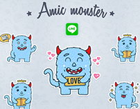 Line Sticker Monster
