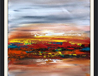 Acrylic on canvas abstract landscape