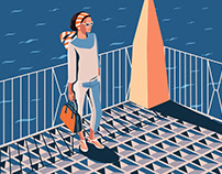 woman by the sea illustration