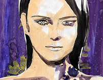 Fashion illustration, gold and purple portrait.