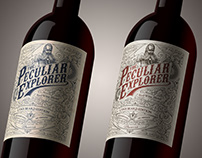 Wine label in two color versions The Peculiar Explorer
