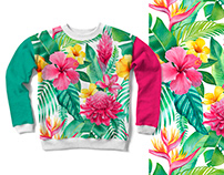 Tropical flora. Pattern design