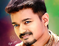 Digital Oil Painting of Actor Vijay