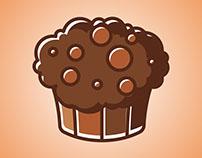Flat Logo Cake\Mafin Icon. Colorful Vector Illstr.