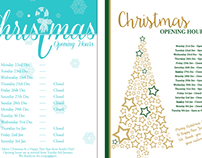 Christmas Opening Hours Poster