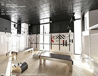 3D VS REAL Pilates Gym Interior,