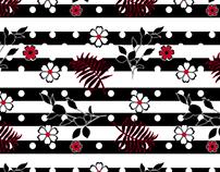 polka-dot, flowers pattern