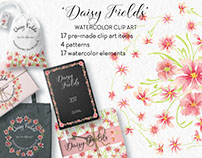 Watercolor clip art bundle designed with pink daisies