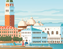 Venice Italy Retro Travel Poster Illustration