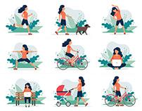 Outdoor activities illustration set