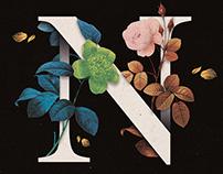 Vintage flowers lettering.