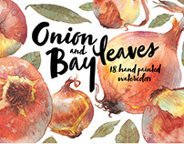 "Watercolor pattern ""Onion & bay leaves"""
