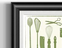 vintage print - kitchen tools illustration
