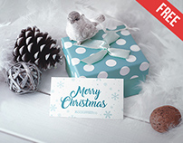 Business Card in Christmas Scenery - Free PSD Mockup