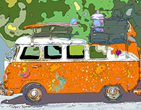 Hippie VW Bus Pop Art Culture Project