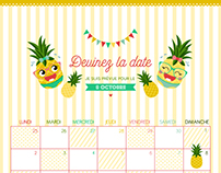 Calendrier Baby shower - Thème Ananas