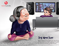 """Beats Headphones"" Illustrative Campaign Advertisement"