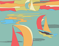 SailBoat - Sailing - Illustration - Vintage colors 2018
