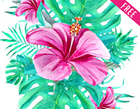FREE WATERCOLOR TROPICAL LEAVES IN PSD