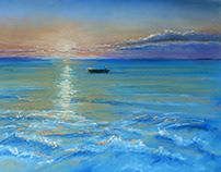 """Sunrise in Mexico"". Pastel chalks"