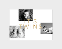 Birth Announcement Card Template - It's Twins