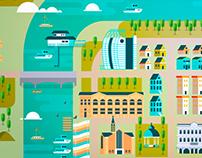 Ilustración ciudad de Valdivia - Chiletur Copec