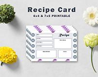 Free Decorative Floral Recipe Card Template