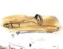 ilustración / proyecto en vivo / acuarelas / jazz