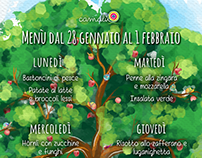 New Camalù Center's Menu Design (Snails and tree)