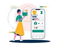 Mobile Shopping Illustration