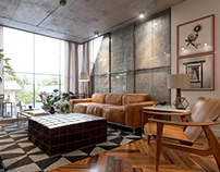 (CGI) Concrete, wood and leather apartament