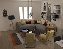 Soft industrial kitchen and living room
