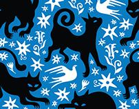 Black Cat fabric design