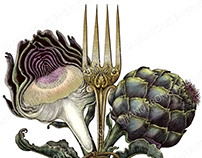 Artichoke and antique fork