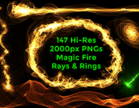 147 Magic Effects Fire Rays & Rings,Magic Hits PNG Pack