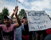 Refugees at the Hungarian-Serbian border