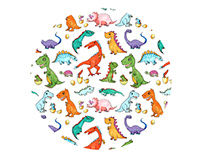 Fabric Pattern Dino Families