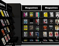 3D magazine rack or shelf for store interior
