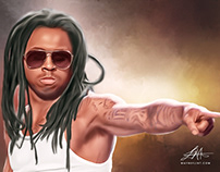 LiL Wayne Digital Oil Painting by Wayne Flint