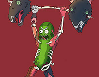 Pickle Rick lifting rats