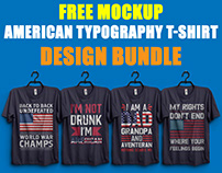 American Typography T-Shirt Design Bundle
