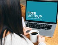 Mockup template: Woman Working on Her Macbook