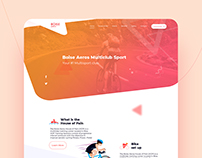 home webpage for a sport club