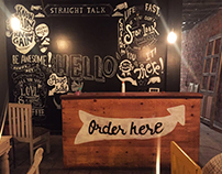 Wall art at Crackpot Cafe
