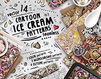 Ice Cream Seamless Patterns Pack