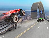 mega ramp car stunts sim