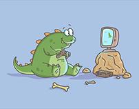 Dino gamer illustration